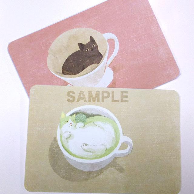台湾ポストカード「抹茶猫と猫ドリップ」