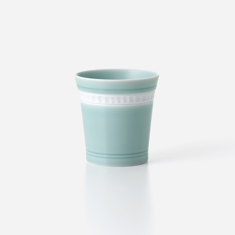青磁印花 広口カップ (小) 在庫なし サイズ未記入
