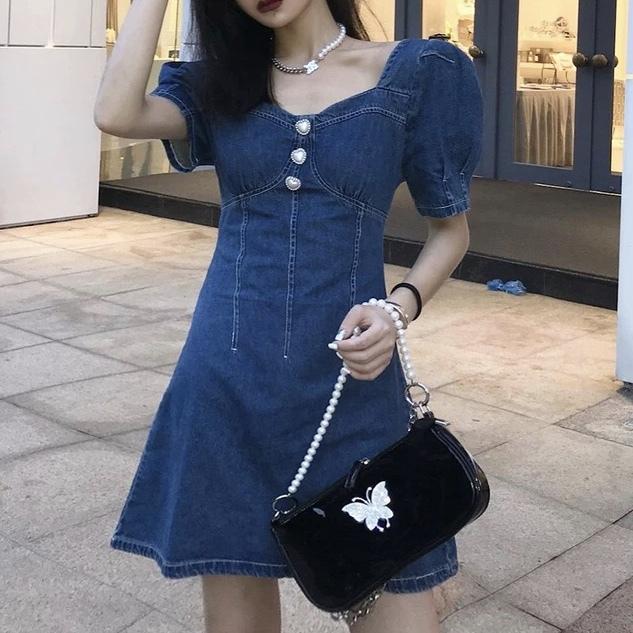 heart button denim dress