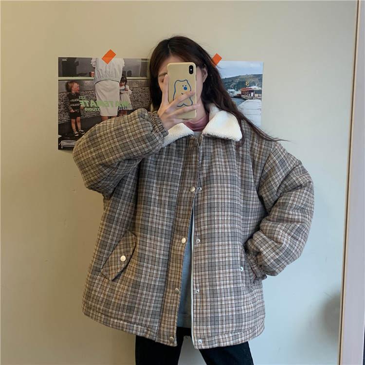 【送料無料 】ボア襟が可愛い ♡ チェック柄 カジュアル 大人可愛い ジャケット コート ブルゾン アウター