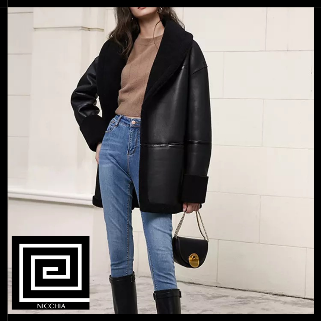 レザーボアジャケットコート