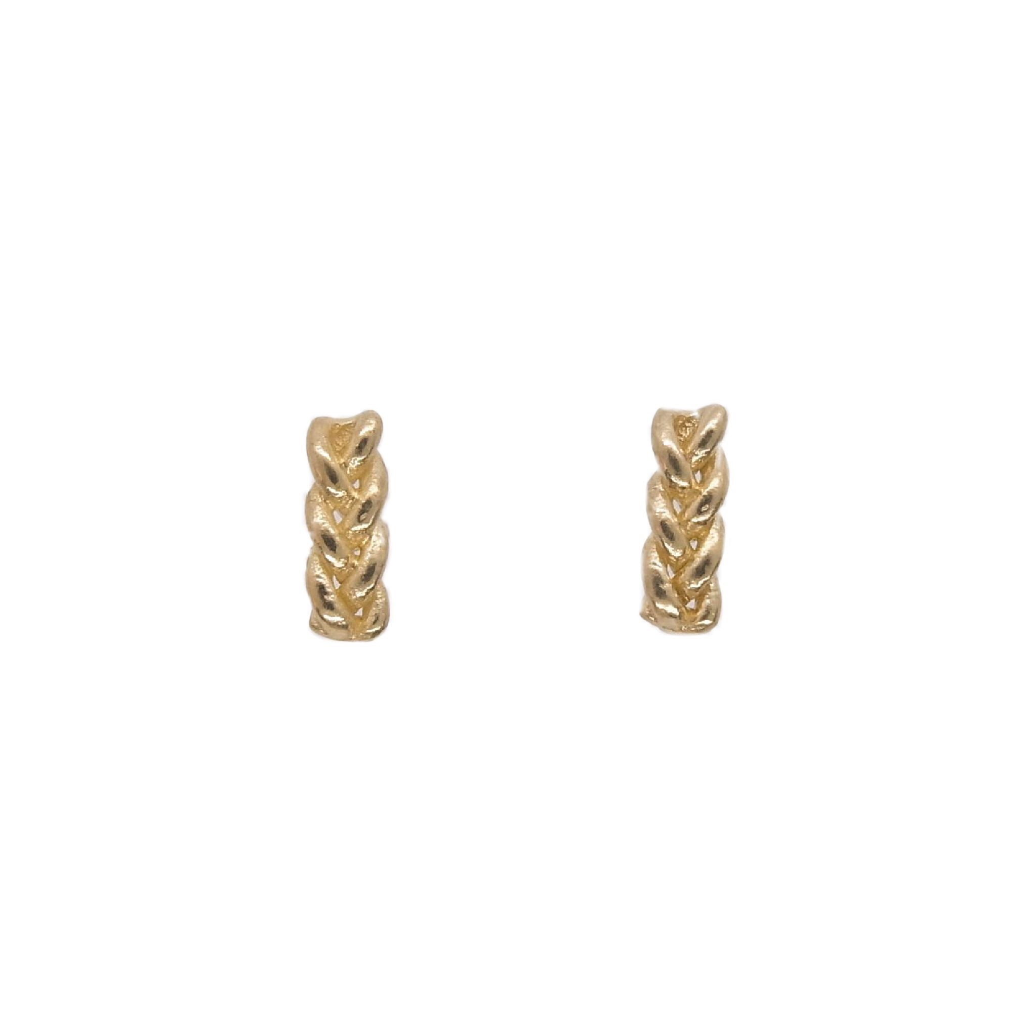 Knitted small pierced Earrings gold color