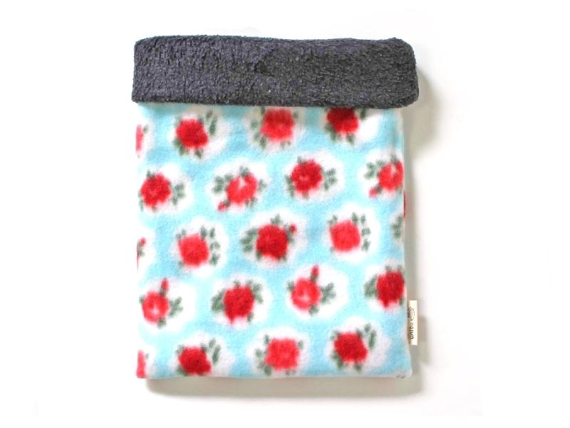 ハリネズミ用寝袋 L(冬用) フリース×フリース ローズ 水色