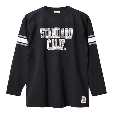 STANDARD CALIFORNIA #SD Heavyweight Football Long Sleeve T Black