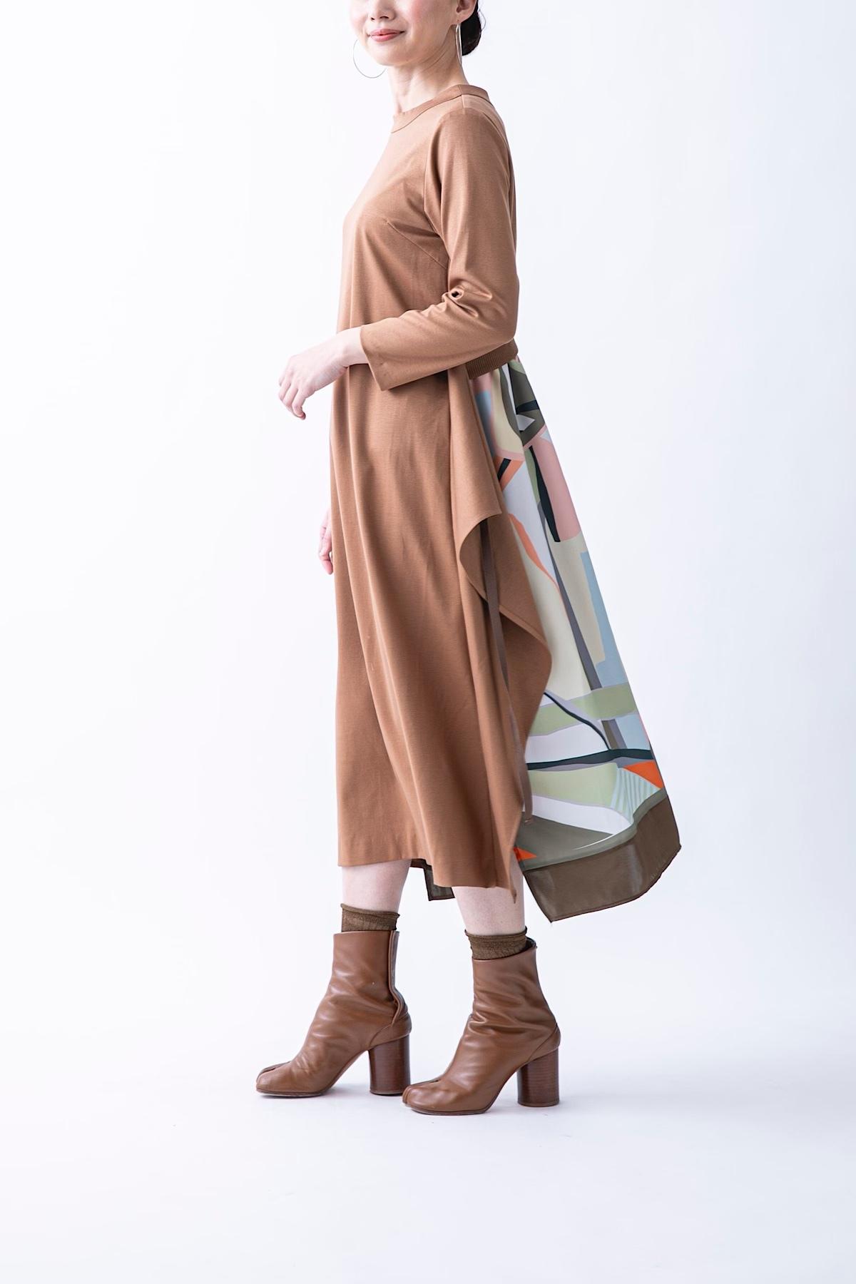 スカーフドッキングドレス 3色:キャメル