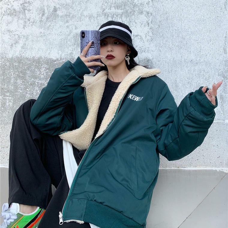 【送料無料】ストリート コーデ ♡ メンズライク 襟付き ボア リバーシブル ナイロン ブルゾン アウター