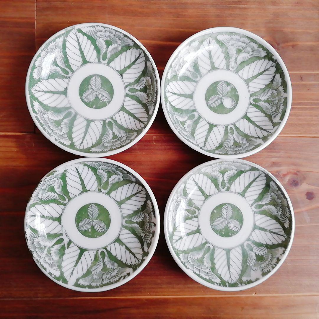 印判小皿 緑 4枚セット【明治〜大正頃】