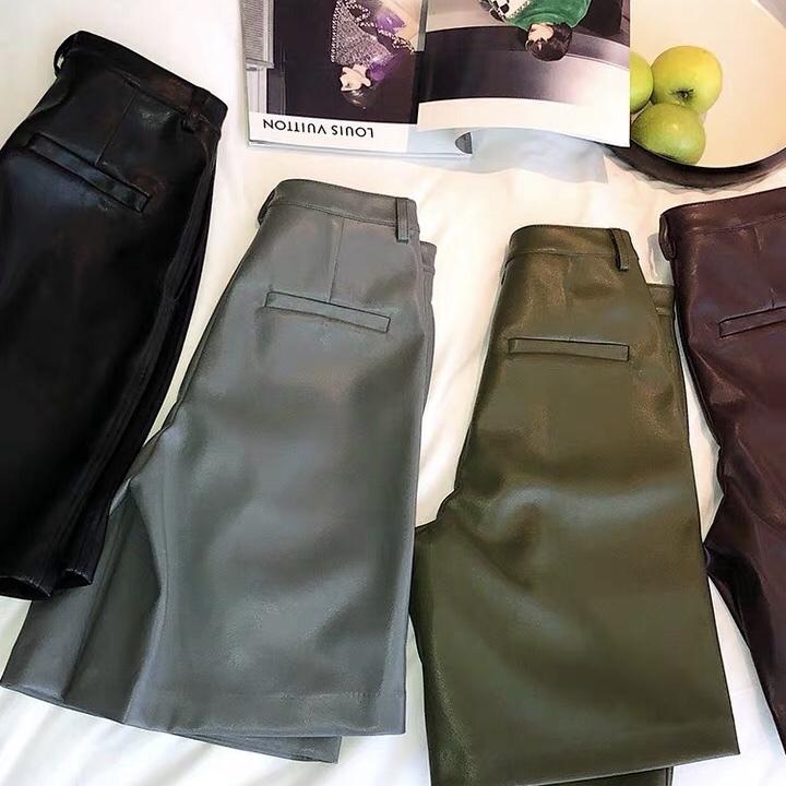 leather half pants