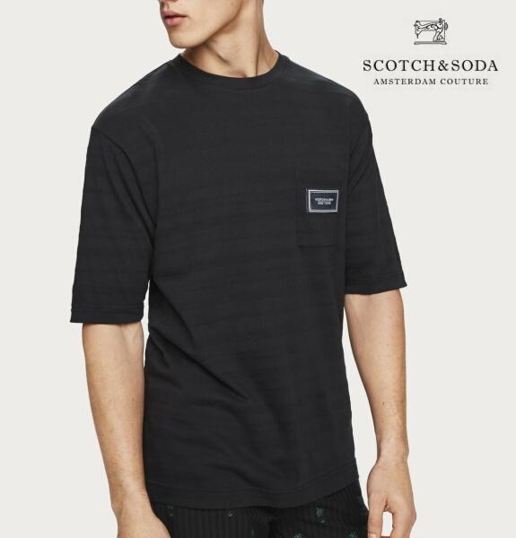 スコッチ&ソーダ SCOTCH&SODA 半袖 Tシャツ クルーネック ボーダー ジャガード Tシャツ ブラック 292-14437