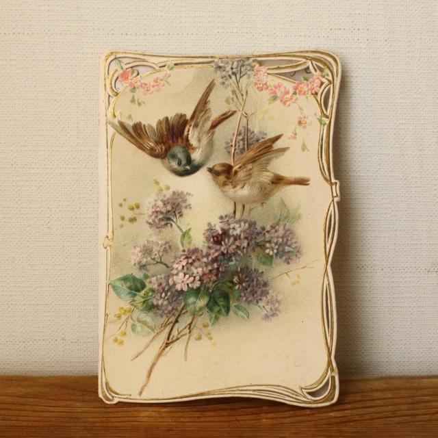 小鳥のカード(リラ)/ vp0015