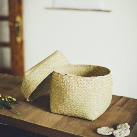 水草の蓋付きかご 中 Mサイズ ボックス型 / Water Glass Box Basket (M)