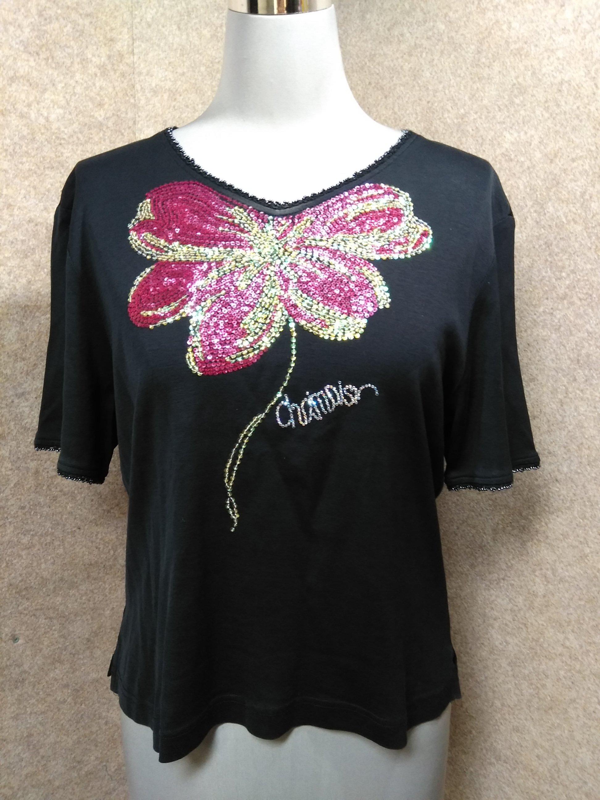 シャミー chamois V スパンコール Tシャツ 9号 黒 u1119a