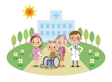 イラスト素材 病院と医療スタッフ 介護イメージ 医師 ナース 患者