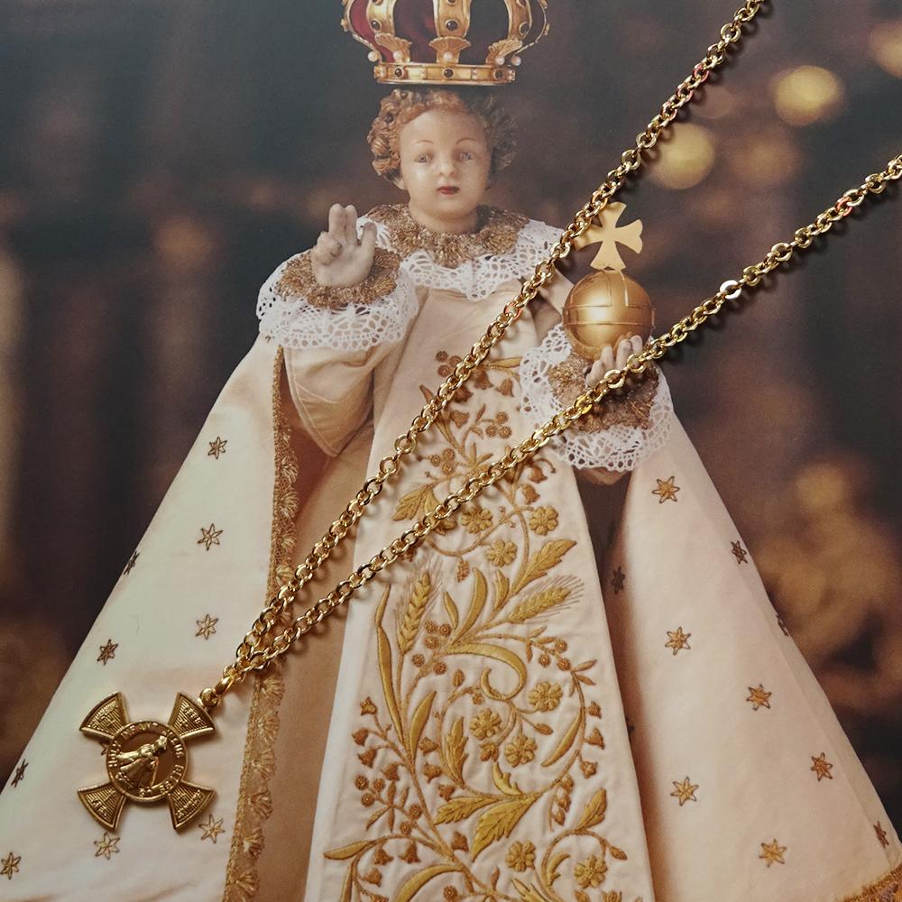 チェコ 幼子イエスのお守りクロスネックレス&カードセット / ゴールド