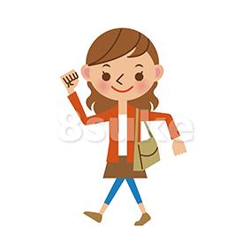イラスト素材:元気に歩く若い女性(ベクター・JPG)