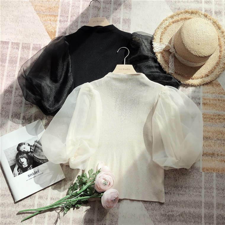 【送料無料】袖コンシャス ♡ 大人可愛い きれいめ チュール ボリューム袖 透け感 シアー ハイネック  半袖 ニット プルオーバー トップス