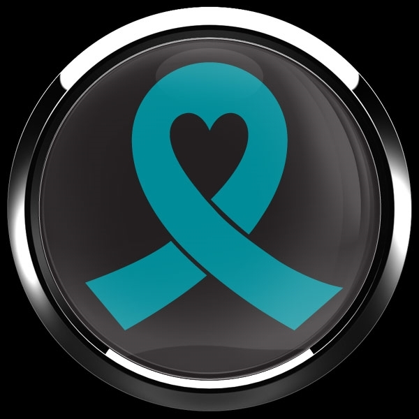 ゴーバッジ(ドーム)(CD0982 - TEAL RIBBON BLACK (OVARIAN CANCER)) - 画像3