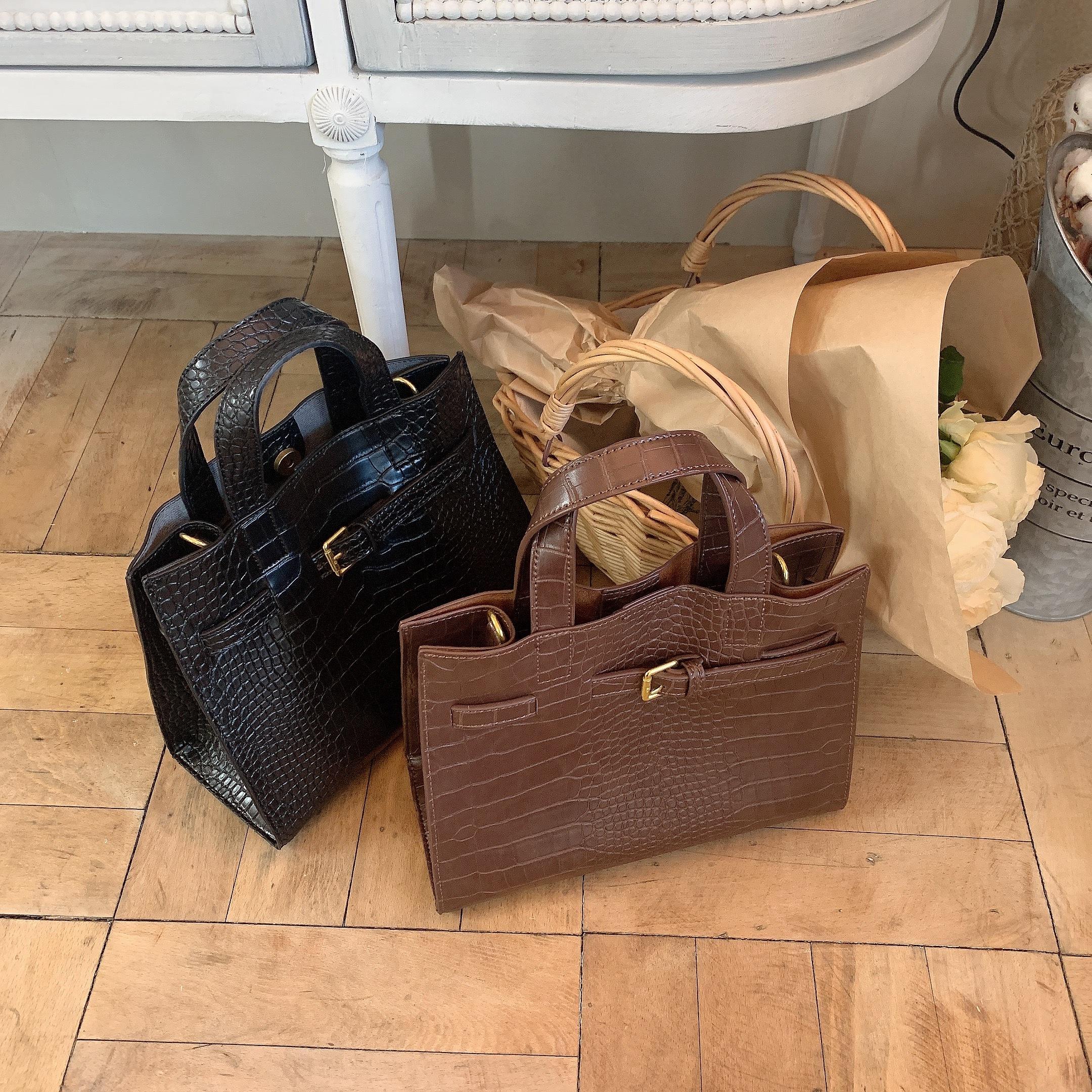 croco square bag