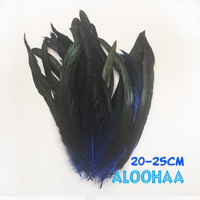 ロングフェザー 【青】20-25cm タヒチアン 衣装 材料 ルースターテール 染め 羽根
