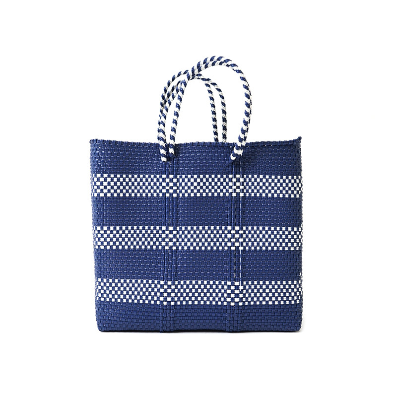 MERCADO BAG BORDER2-Navy x White (S)
