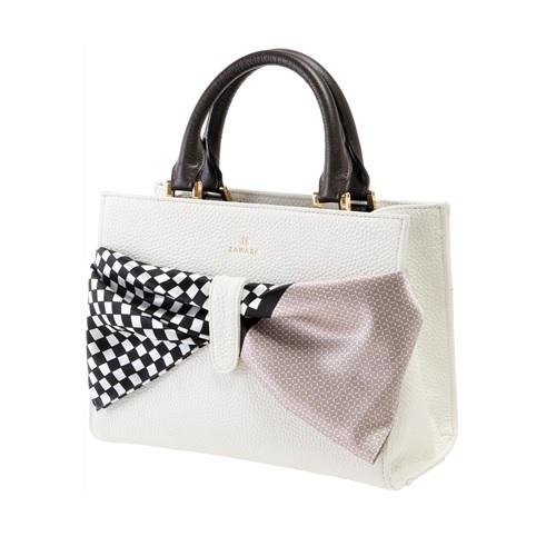 ZAWAZA オリジナルバッグ <結~Yui~> バッグ :オフホワイト スカーフ:黒白(市松)×ベージュ(斜め格子)
