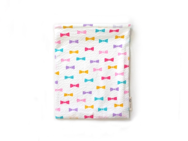 ハリネズミ用寝袋 M(夏用) 綿リップル×スムースニット リボン ホワイト