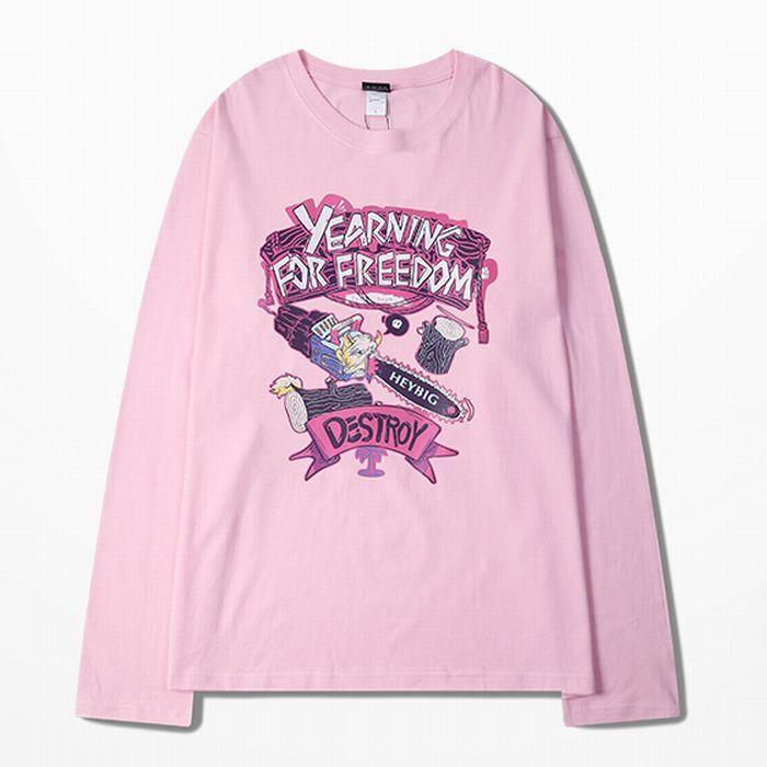 ユニセックス 長袖 Tシャツ 韓国ファッション メンズ レディース プリント ピンク ラウンドネック オーバーサイズ 大きいサイズ ストリート