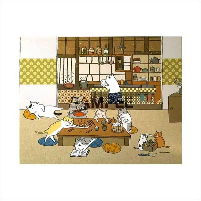 台湾ポストカード「貓一家的晩餐」