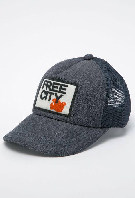 FREECITY フリーシティ パッチ デニムトラッカーキャップ ネイビー FCJCAP12 FC DV