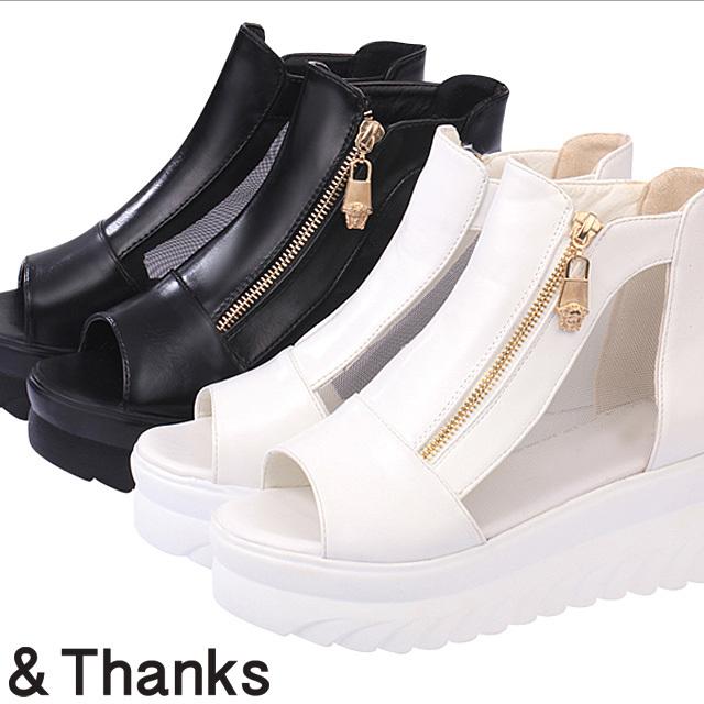 【BLACK/38 1点即納可能】もてきれい 厚底サンダルサマーブーツ 2カラー5サイズ
