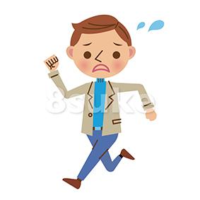 イラスト素材:慌てた表情で走る若い男性(ベクター・JPG)
