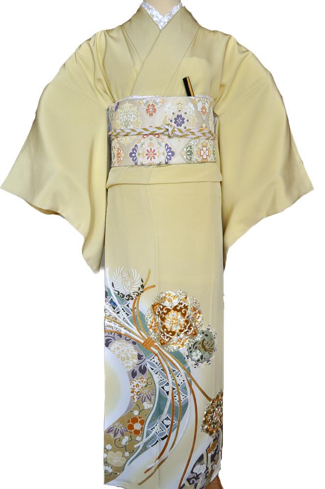 レンタル色留袖■高級加工■鮮やかな黄色地に金彩刺繍で熨斗目 花輪 irotome3【往復送料無料】 - 画像2