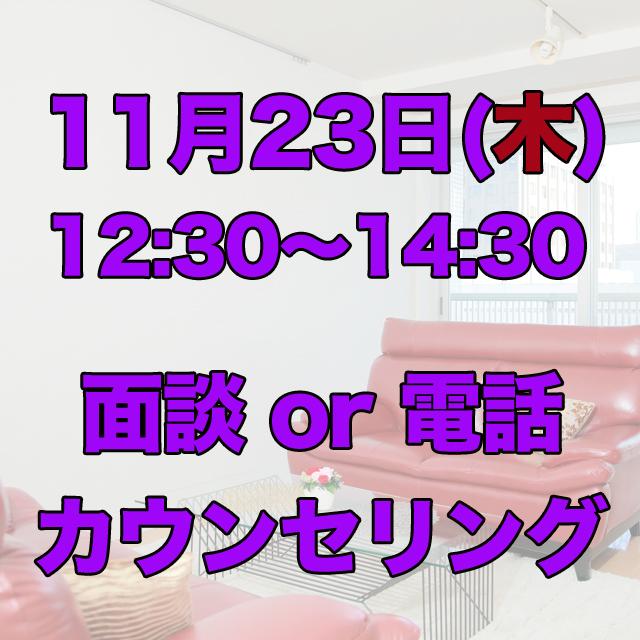 11/23(木)12:30〜14:30 面談 or 電話120分カウンセリング - 画像1