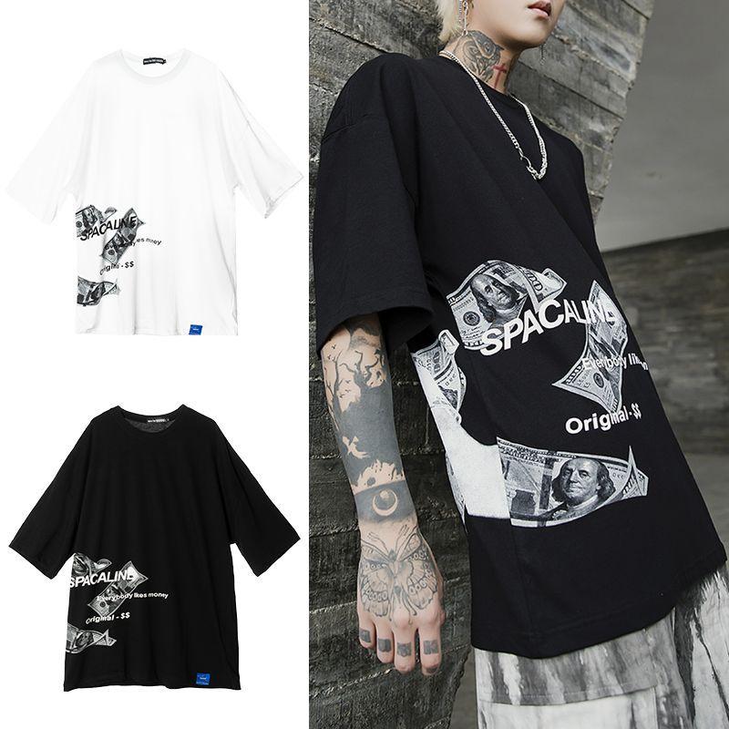 ユニセックス Tシャツ 半袖 メンズ レディース 英字 お札 プリント ドロップショルダー オーバーサイズ 大きいサイズ ルーズ ストリート