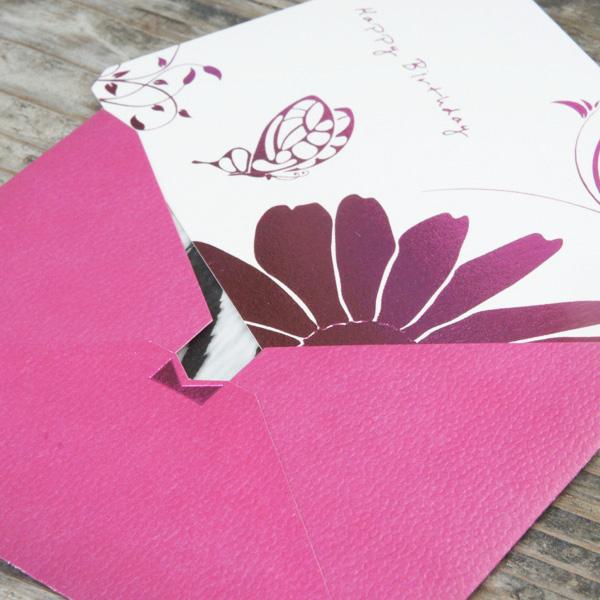 【ピンク×ゼブラ】カード付スタイリッシュ封筒 HGA01C