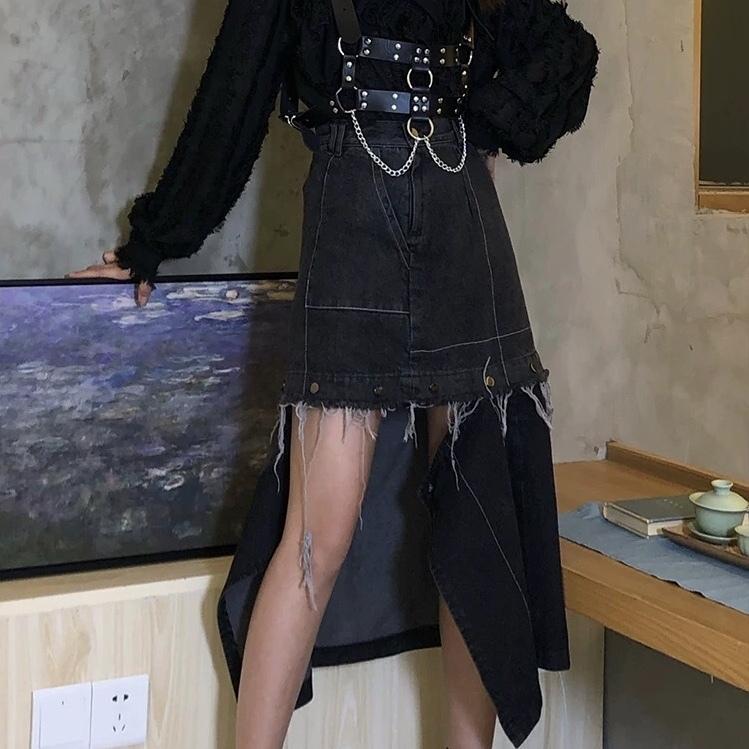 irregularity hem long skirt