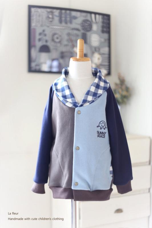 【110】ショールカラーカーディガン・ブルゾン*水色 ×ブラウン チェック/Lafleur