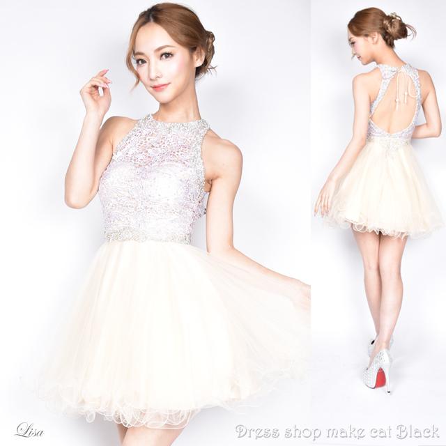 (Sサイズ) ミニドレス  ビジュー刺繍 ドレス パーティー フレア ミニ キャバドレス 二次会 0246