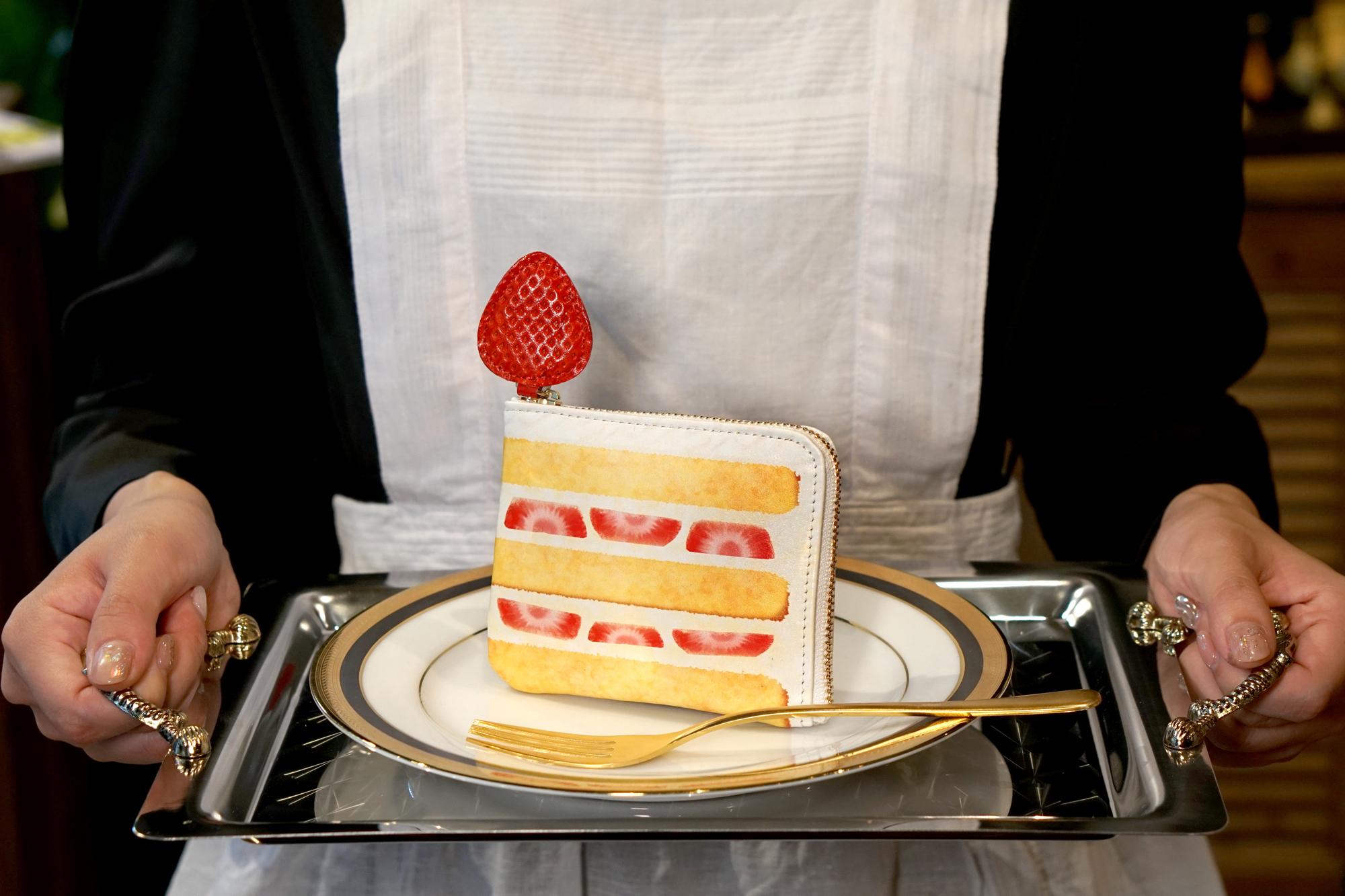 薄型!ショートケーキなL字ファスナーミニ財布(牛革製)