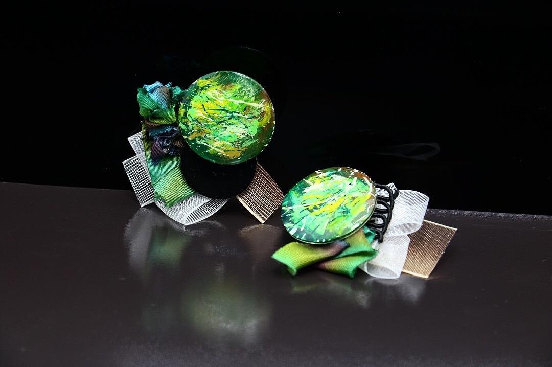 【paint】アートピアス 森林 × グリーンペイント