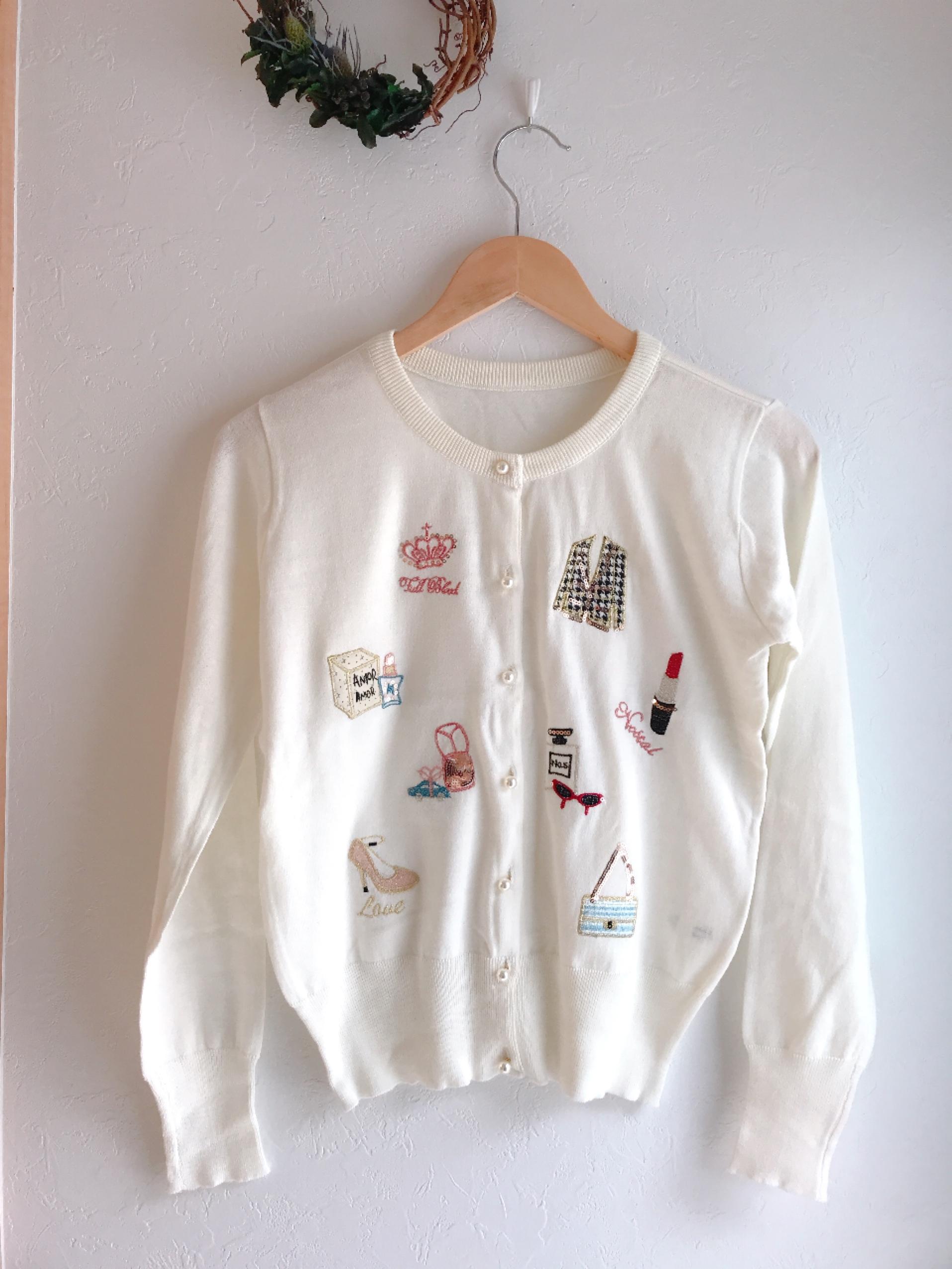リップバッグハイヒール柄刺繍カーディガン オフホワイト