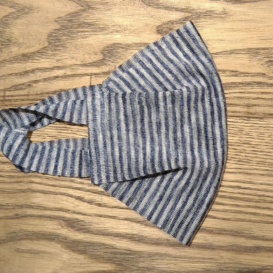 【2枚組】マスク麻ニット一重仕立て ストライプ(細) 灰色と青