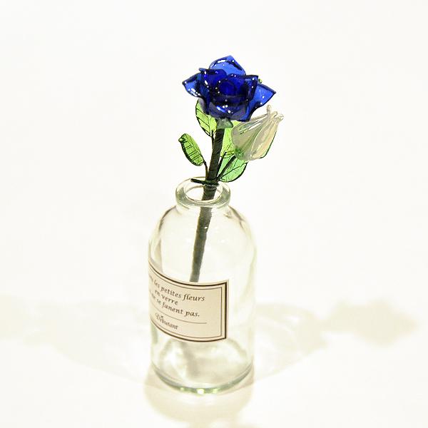 グラスフラワー「青いバラ(小瓶付き)」