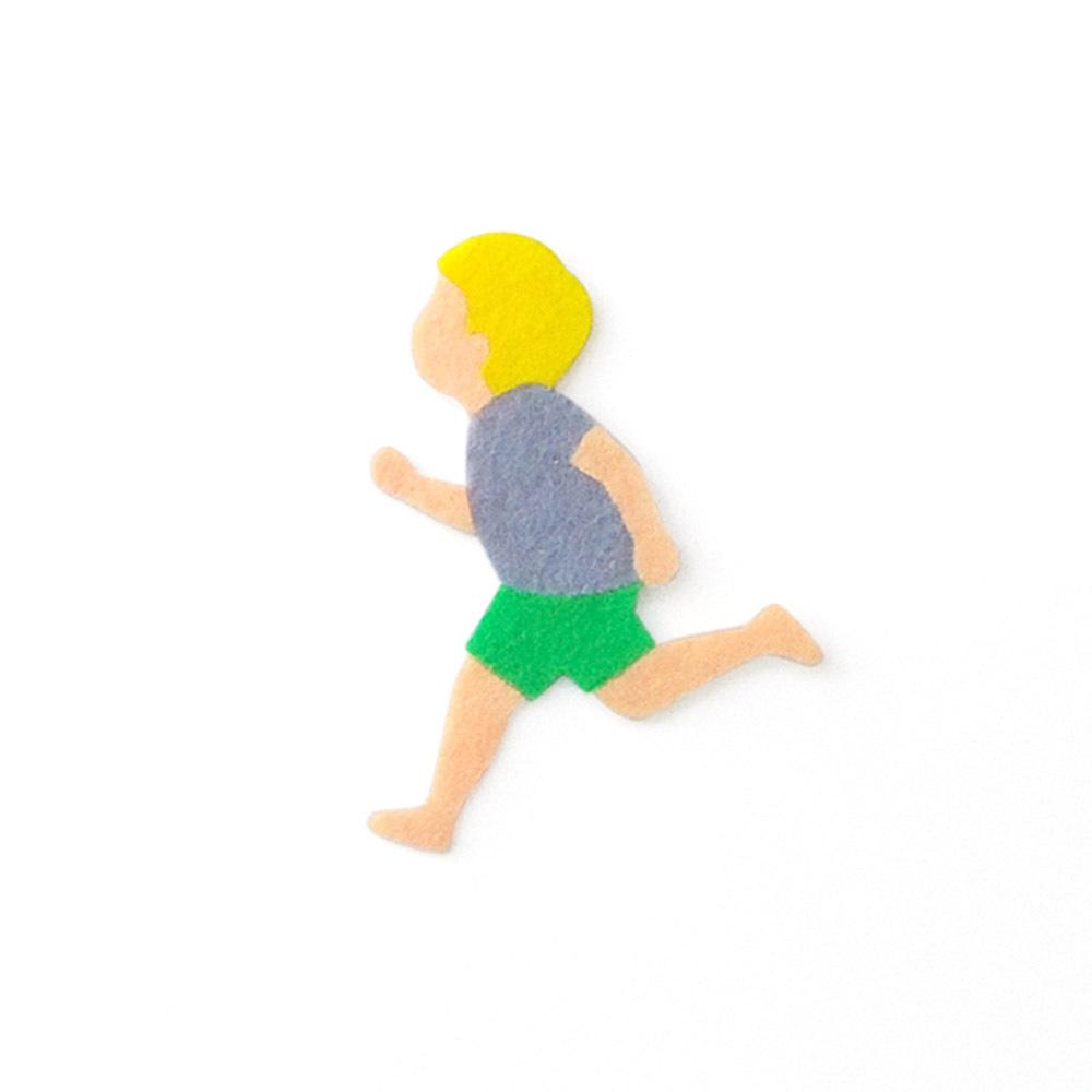 アイロン接着 フェルト アップリケ(走る男の子)