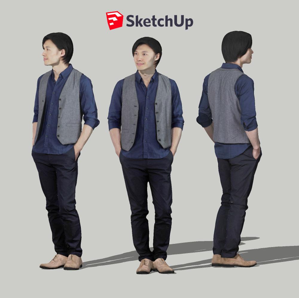 SketchUp素材 3D人物モデル ( Posed ) 069_Syun - 画像1