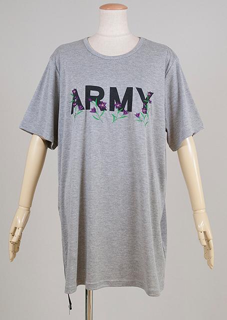 gouk侍 ARMYの文字に桔梗の刺繍が入ったTシャツ GGD28-T801  GY/MM