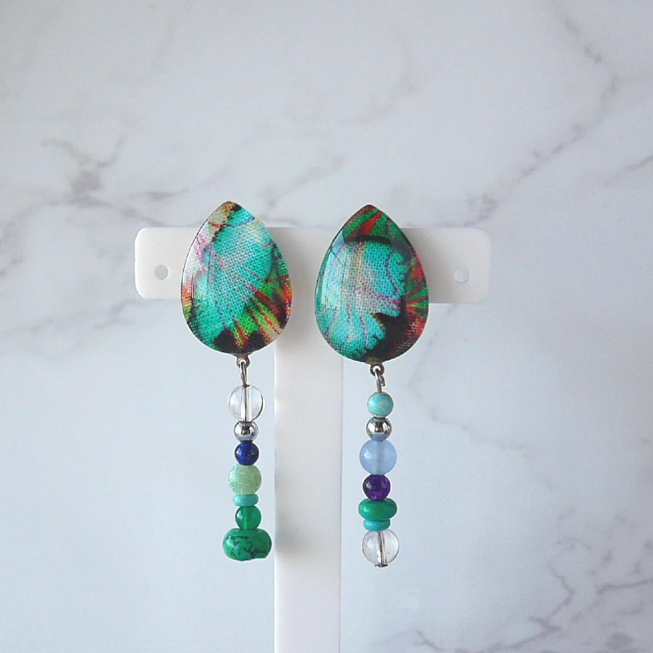 """"""" Earrings NO.0-1725""""グリーン天然石イヤリング"""