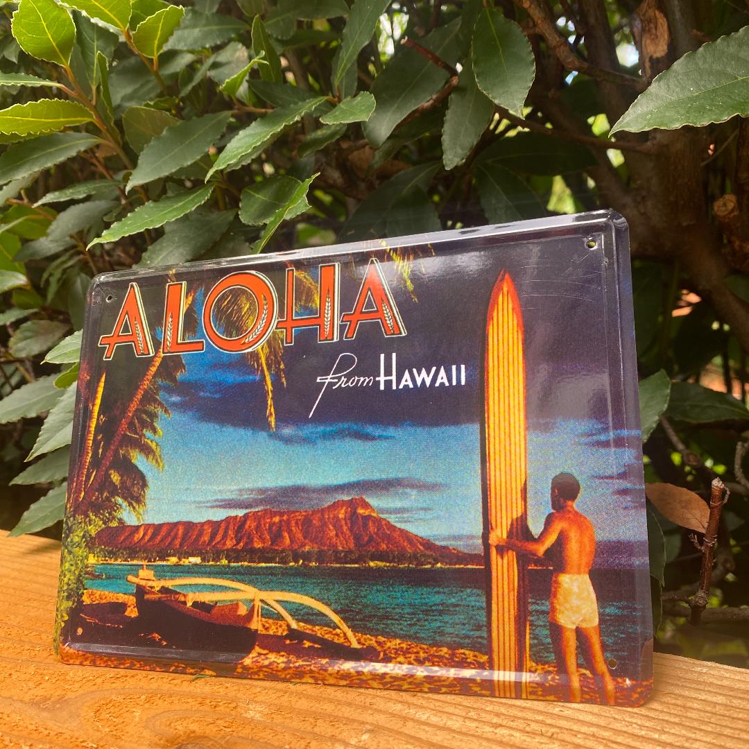 ハワイアン雑貨 ブリキ 看板 ワイキキビーチ アメリカン雑貨