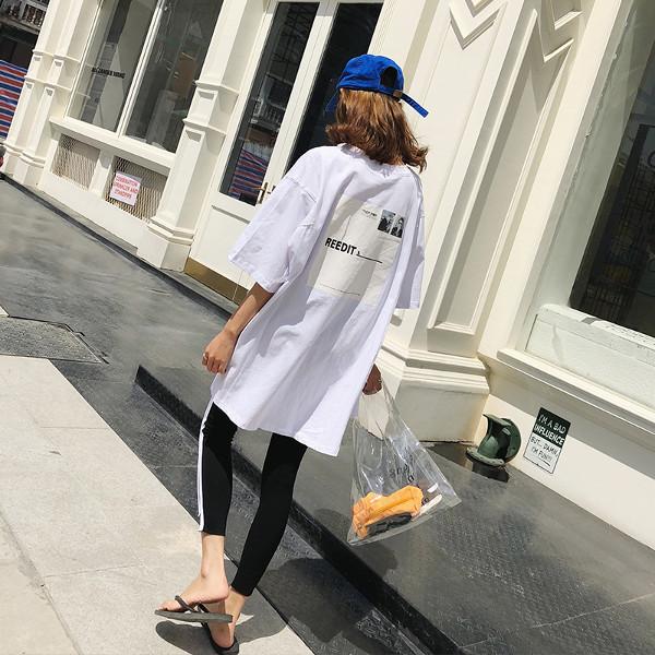 【即日発送】Uネック バックプリント サイドスリット ロングTシャツ tk2030