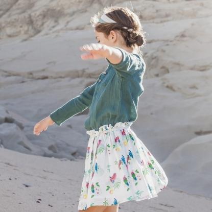 フランスのオウムプリントスカート